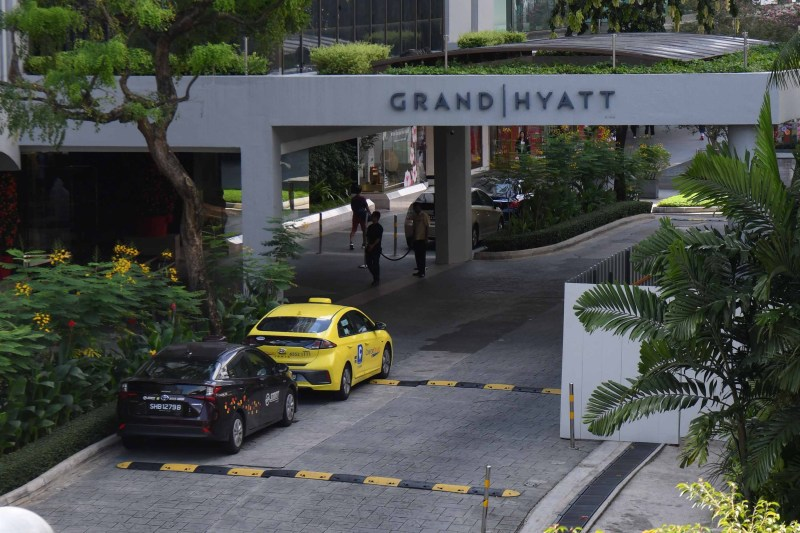 A general view on February 6 shows the entrance to the Grand Hyatt Singapore hotel, the scene of a business meeting that has been linked to several novel coronavirus cases.