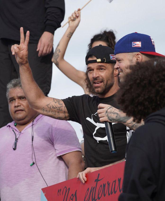 Singer Ricky Martin attends a demonstration demanding Governor Ricardo Rossello's resignation in San Juan, Puerto Rico on July 17, 2019.