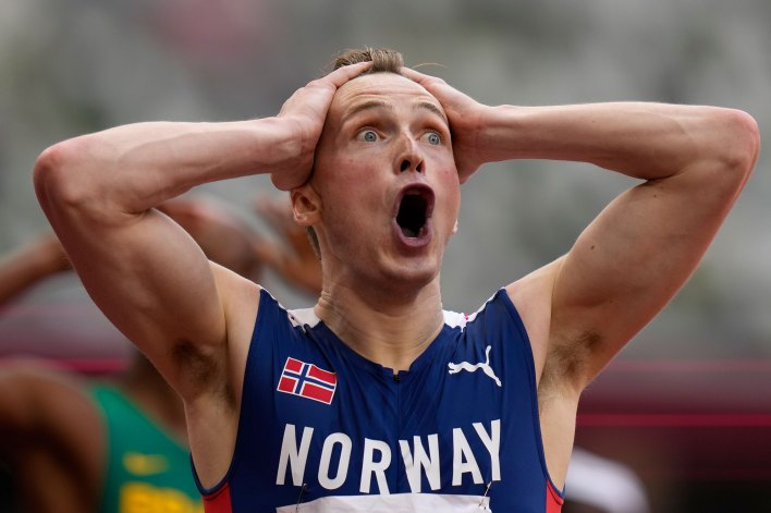 Norway's Karsten Warholm reacts after winning the men's 400 meter hurdles final on Tuesday.