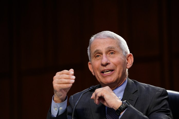 Dr. Anthony Fauci, director of the National Institute of Allergy and Infectious Diseases, testifies during a Senate Health, Education, Labor and Pensions Committee hearing on Capitol Hill in Washington, DC, on March 18.
