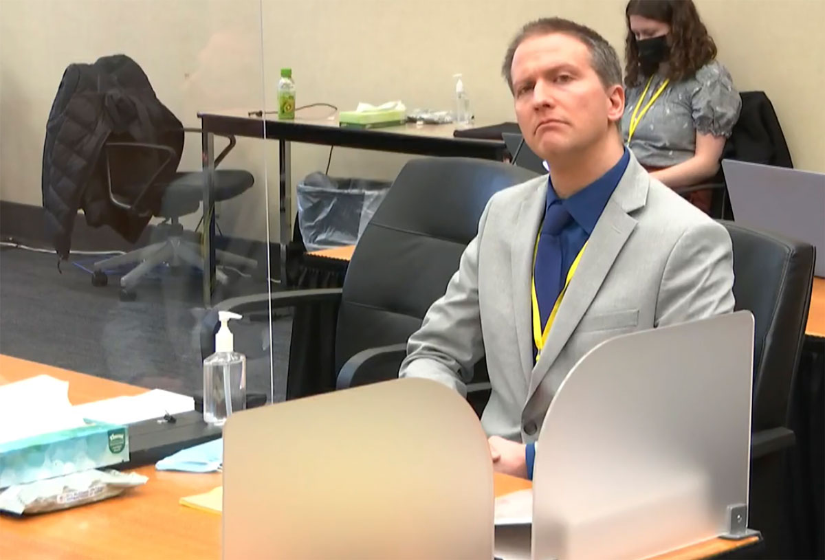 In this image from video, former Minneapolis police Officer Derek Chauvin listens as his defense attorney Eric Nelson gives closing arguments on April 19, at the Hennepin County Courthouse in Minneapolis.