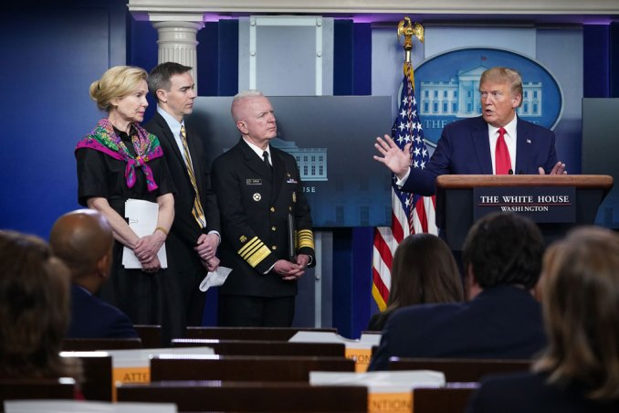 U.S. President Donald Trump at a White House Coronavirus Task Force meeting on April 20.