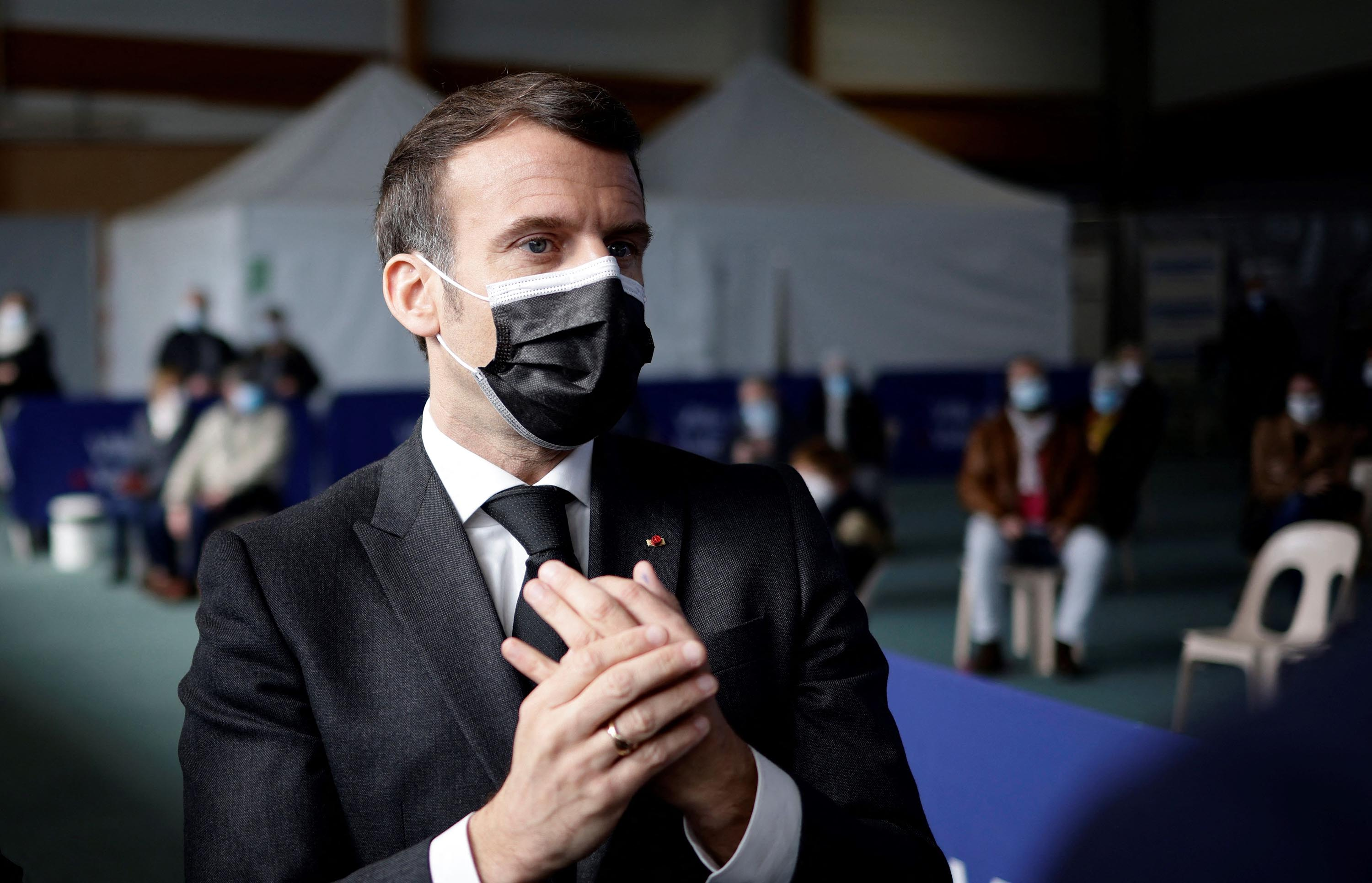 French President Emmanuel Macron visits a Covid-19 vaccination center in Valenciennes, France, on March 23.