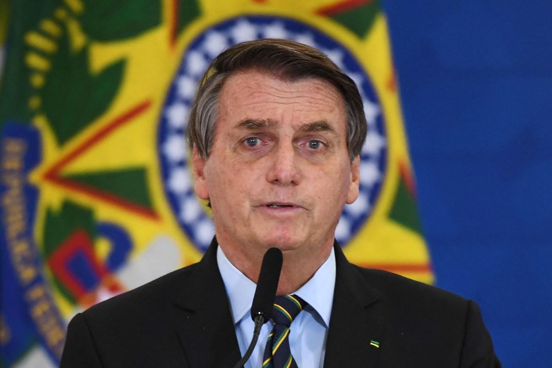 Brazilian President Jair Bolsonaro speaks at Planalto Palace in Brasilia, Brazil, on March 25.