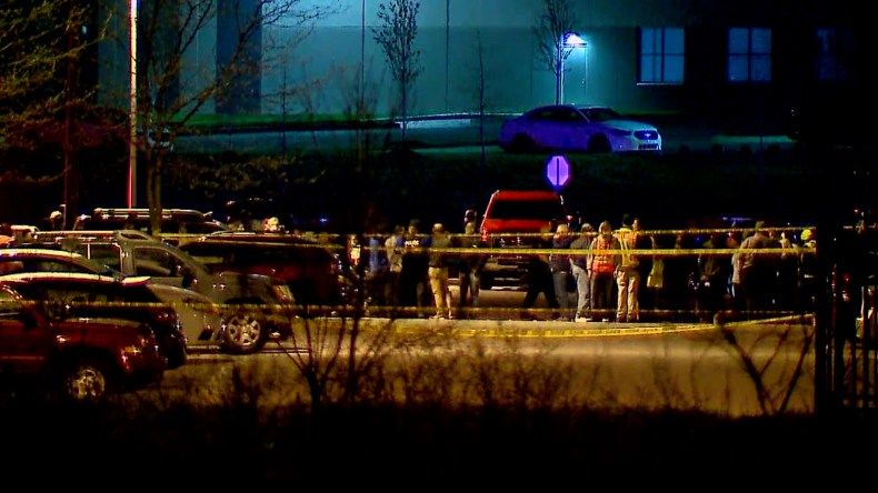 The scene outside a FedEx facility after a shooting in Indianapolis, Indiana on April 16.