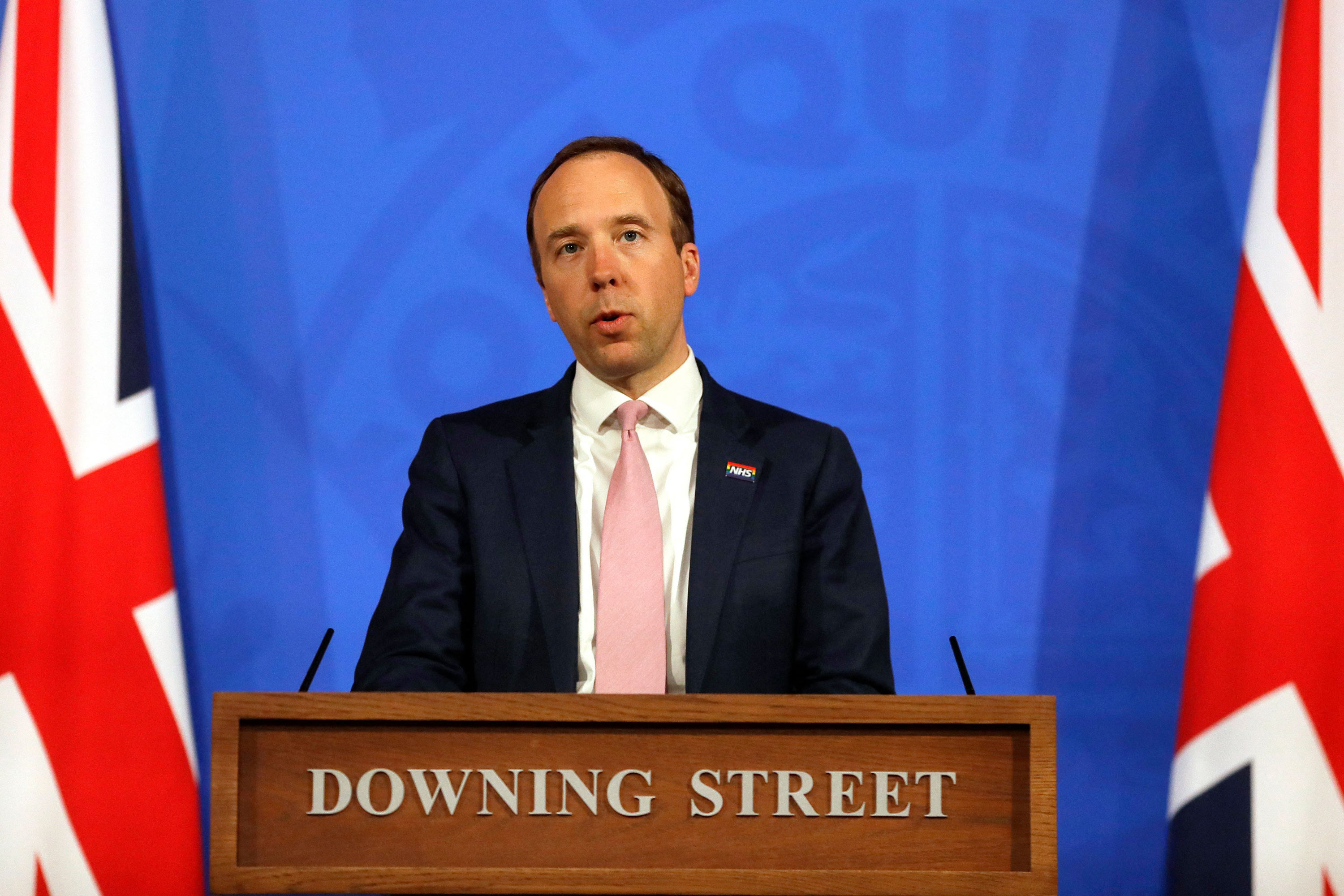 Britain's Health Secretary Matt Hancock speaks during a virtual press conference inside the new Downing Street Briefing Room in London on April 28.