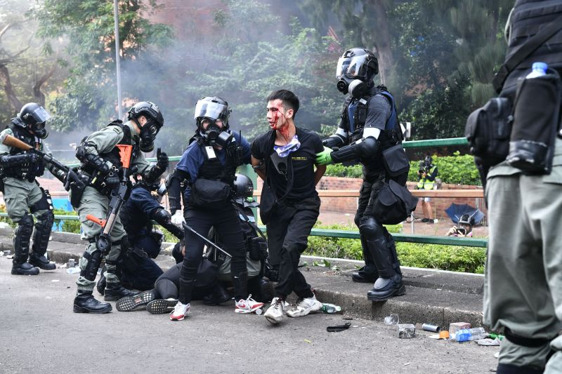 Protesters clashed with police near the Hong Kong Polytechnic University on November 18, 2019.