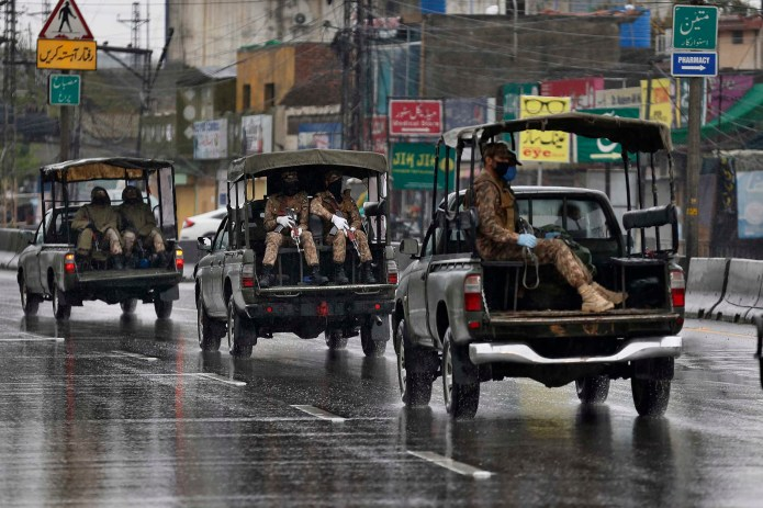 Pakistan Army troops patrol in Rawalpindi, Pakistan, on Tuesday.