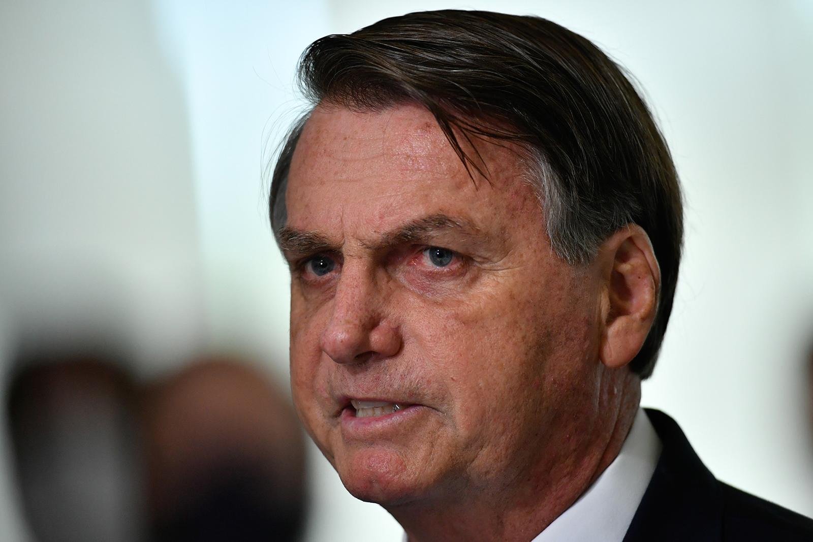 President of Brazil Jair Bolsonaro speaks at the Planalto Palace, in Brasilia, Brazil, on March 31.