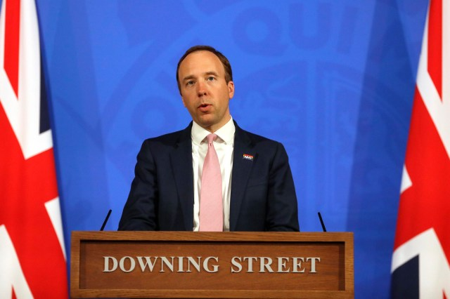 Britain's Health Secretary Matt Hancock speaks during a virtual press conference at Downing Street in London, on Wednesday, April 28.