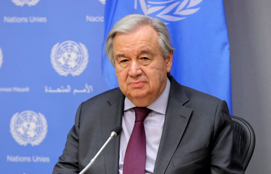 United Nations Secretary-General António Guterres holds a briefing in New York on March 10.