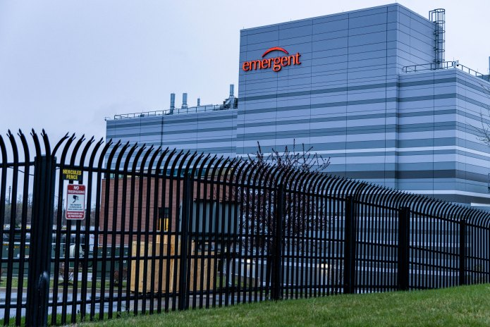 The Emergent BioSolutions facility in Baltimore on April 1.