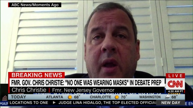 "128) Chris Christie says ""no one was wearing masks"" during Trump's debate  prep"