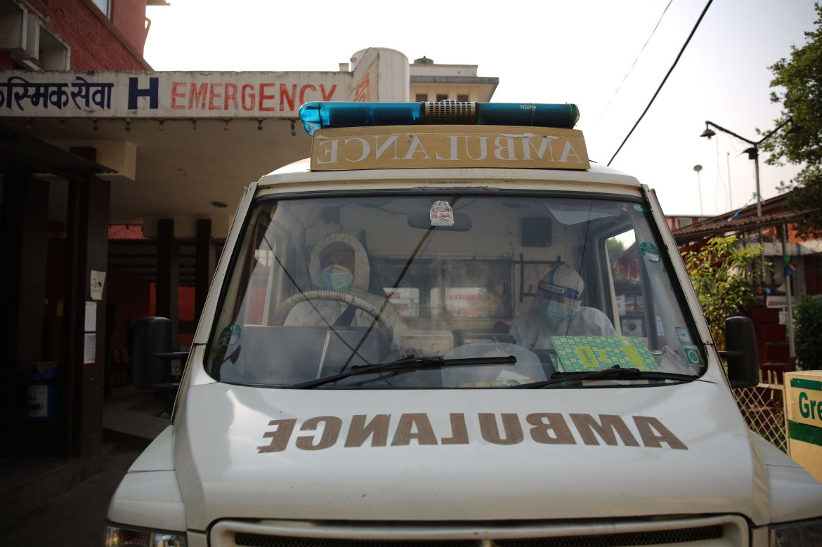 An ambulance carrying Covid-19 patients is at a hospital in Kathmandu, Nepal, on April 26.