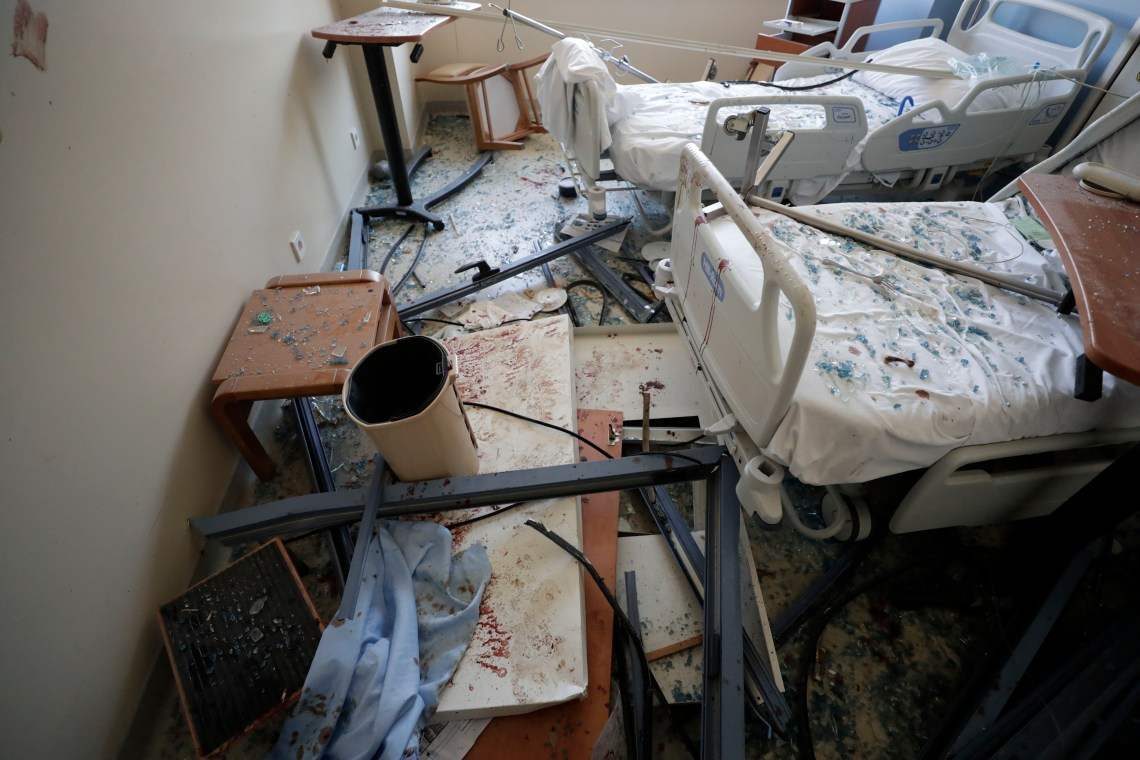 A damaged hospital in Beirut is seen on August 5.