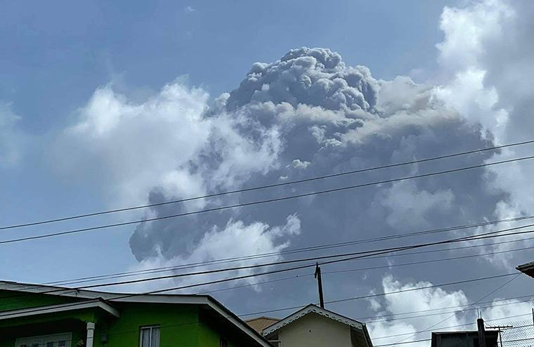 The eruption of La Soufriere volcano in Saint Vincent on April 9, 2021.