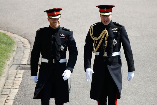 Prince Harry, pictured left, arrives with his best man Prince William at St George's Chapel, in Windsor, on Saturday.