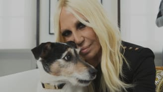 Donatella Versace poses with her dog Audrey
