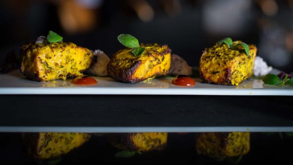 dubai sky high dining mint leafTandoori Salmon with Mustard & Herb Marinade (1)