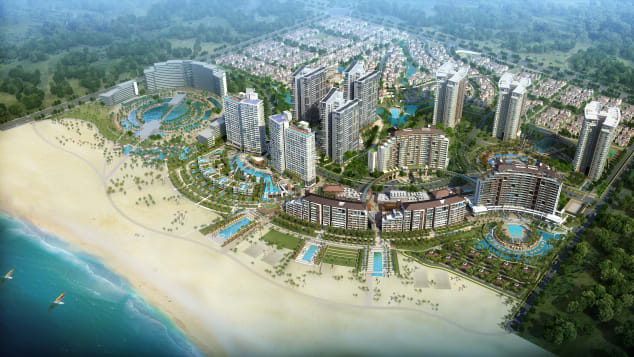The Aloha hotel and entertainment complex, designed by Scott Myklebust and currently being built on Lingshui Bay near Sanya.
