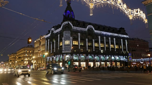 The House of the Books (Singer House) on Nevsky Avenue in St. Petersburg, Russia, is lit up electrically. Sunshine is in scarce supply here in the days leading up to winter solstice.