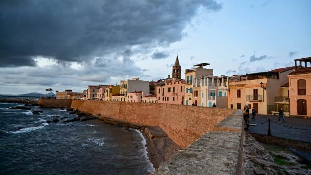 The coastal town of Alghero in Sardnina.