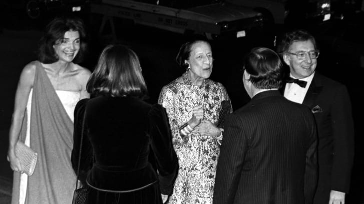 """Jackie Onassis, Carl Katz, Tom King and Diana Vreeland attending """"Opening of The Treasures of Early Irish Art"""" at the Metropolitan Museum of Art in 1977."""