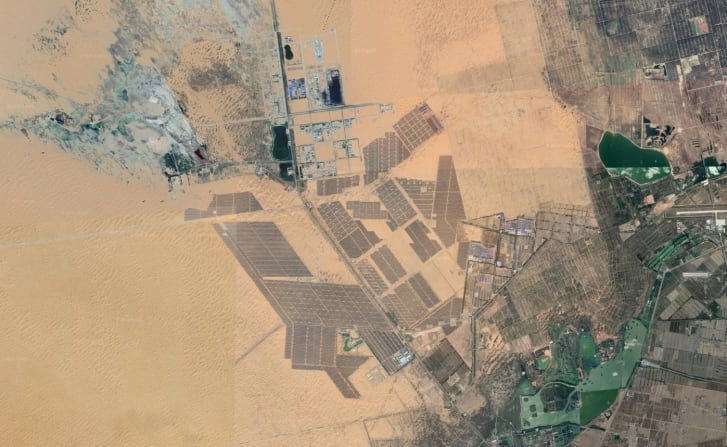 Tengger Desert Solar Park in China, captured by satellite via Google Earth.