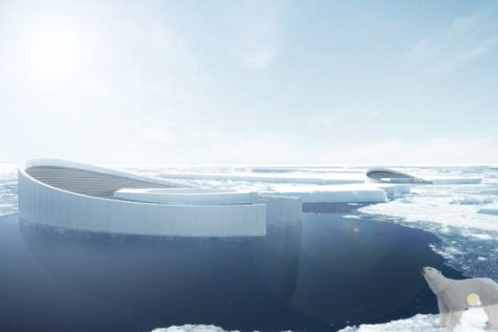 The proposed submersible would be capable of producing 16-foot-thick, 82-foot wide hexagonal icebergs.