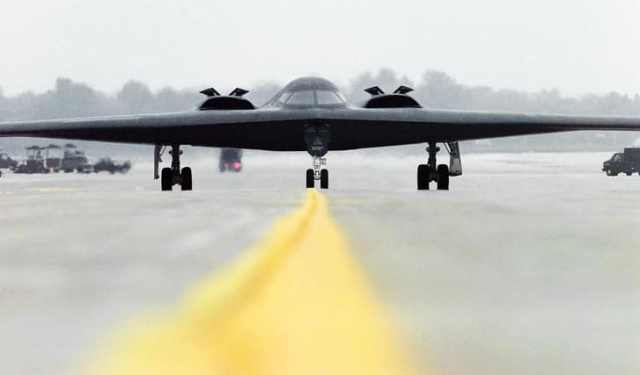 "A B-2 Spirit Stealth Bomber named ""Spirit of Alaska"" at Whiteman Air Force Base."