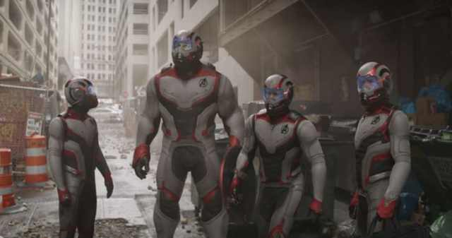 Ant-Man (Paul Rudd), Hulk (Mark Ruffalo), Captain America (Chris Evans) and Iron Man (Robert Downey Jr.) in the Avengers' time travel suits. The suits were added in post-production as the design was not finalized until after principal photography had begun.