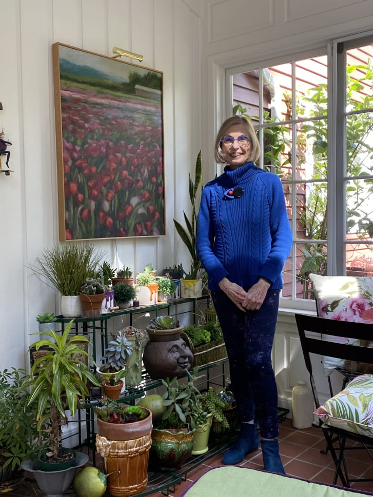 """My sun room is my sanctuary,"" Eiseman said. ""The important colors in the room are green and violet, with a few other floral colors in the mix."""