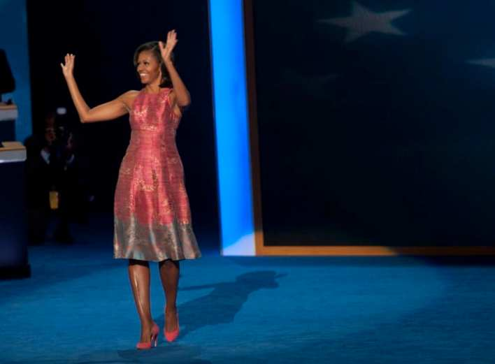 First lady Michelle Obama chose a pair of J. Crew pumps for the 2012 Democratic National Convention.