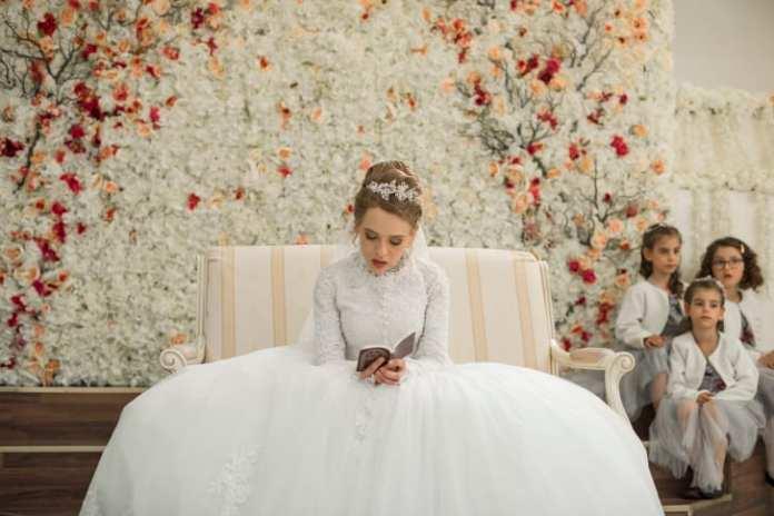 "Esty on her wedding day in ""Unorthodox."""