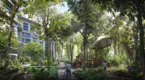 """Dubbing the project a """"forest town,"""" planners aim to retain some of the site's natural greenery."""