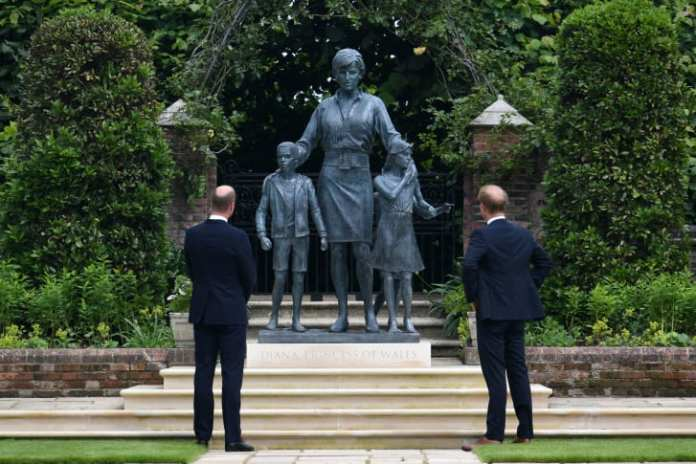 Prince William, Duke of Cambridge (left), and Prince Harry, Duke of Sussex, unveil a statue of their mother, Princess Diana, at The Sunken Garden in Kensington Palace, London on July 1.