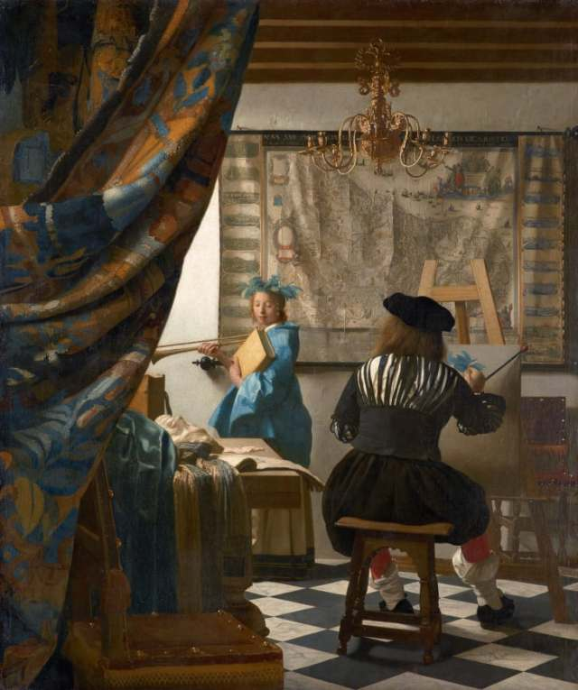 Art historians aren't sure where Vermeer learned to paint, who he learned from, if he had any students of his own or who his subjects were. It is thought that the work above, an alllegory of painting, is a self-portrait with his daughter.