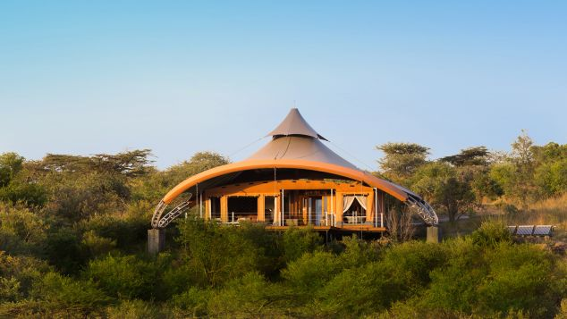 """Mahali Mzuri. The architecture alone makes this wilderness retreat a standout, a dozen futuristic """"tents"""" designed and fabricated by Nairobi-based canvas maestro Jan Allen and rustic chic interiors by London's Real Studios."""