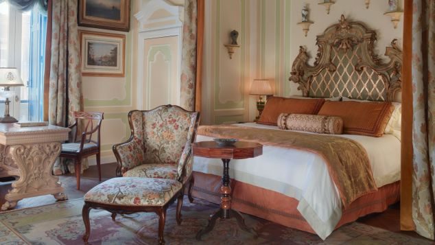 Gritti Palace rooms are furnished with Venetian antiques, exquisite original art and rich brocade silks.