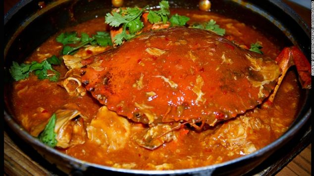 Singaporeans drench crab in a spicy tomato gravy.