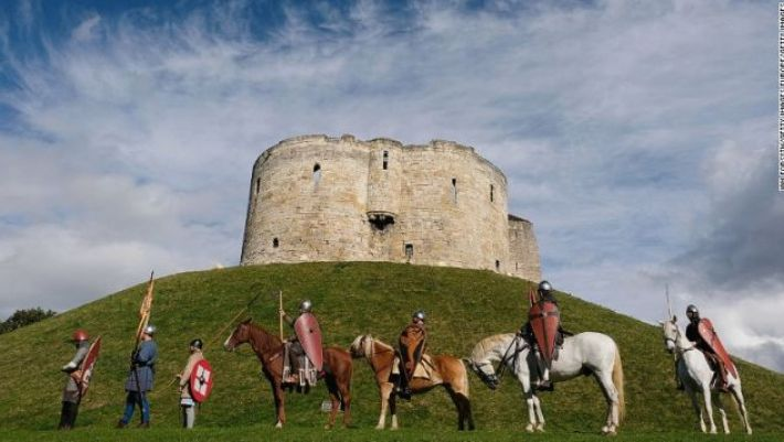 English Heritage re-enactors outside Clifford's Tower in York.