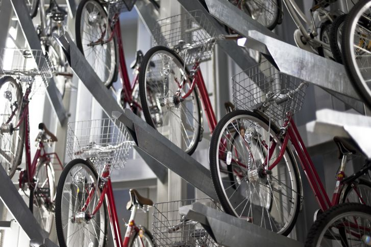 The bikes are stacked underground.
