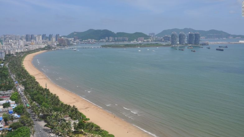 A birds-eye view of the vista of Sanya Bay, taken in June, featuring the new Phoenix Island in the top right.