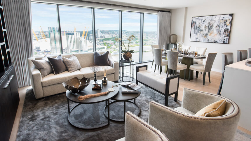 Show home room by room - Horizons, Canary Wharf on New Horizons Living Room  id=60148
