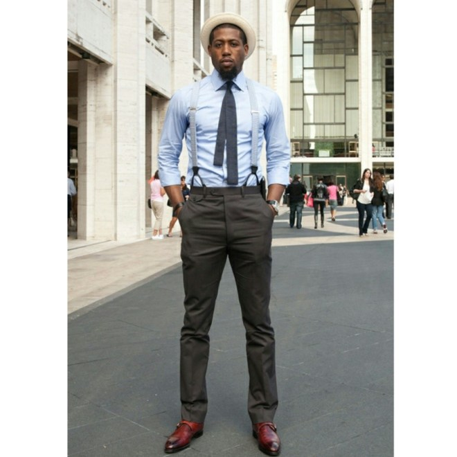 Suspenders combined with skinny tie