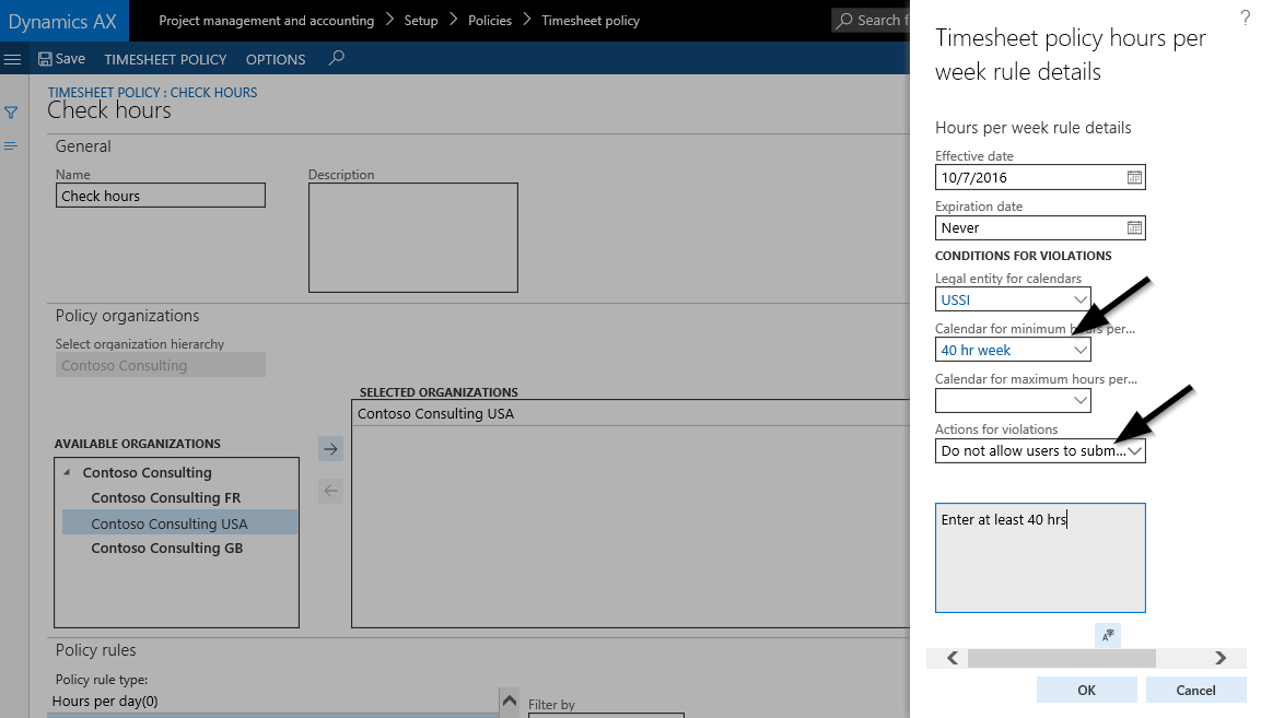 Project   Dynamics 365FO AX Finance   Controlling The following example demonstrates how this can be achieved based on the  timesheet policy configuration shown in the next screen print