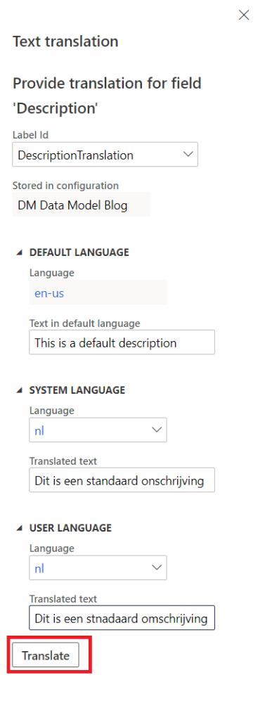 Data Model translation Filled in