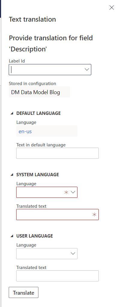 Data model new translation