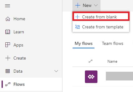 Microsoft Flow Create New
