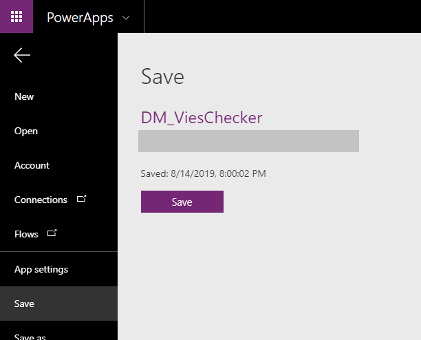 PowerApps Save App